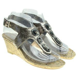 Womens Pewter Faux Snakeskin Jeweled Wedge Sandals